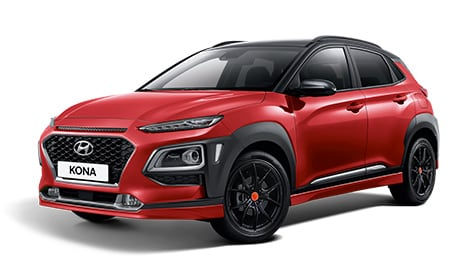 Hyundai KONA Unique in Engine Red